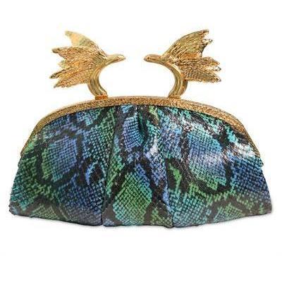 Phoenix Python Clutch aus Ayers türkis von Ballin