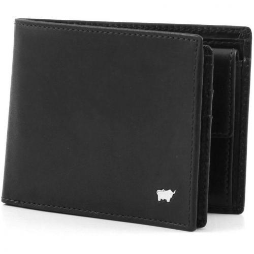Basic Geldbörse Leder schwarz 12,5 cm von Braun Büffel