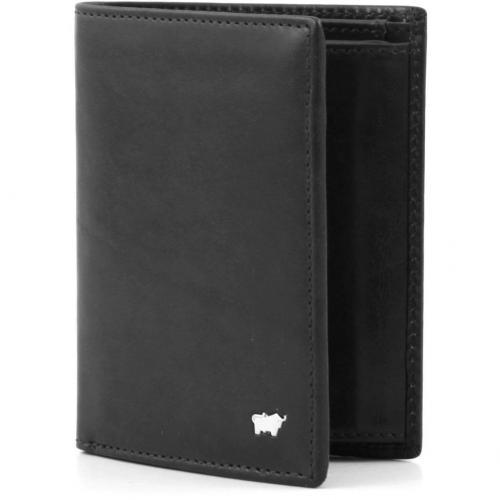 Basic Geldbörse Leder schwarz 13 cm von Braun Büffel