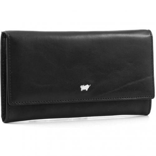 Basic Geldbörse Leder schwarz 17 cm von Braun Büffel