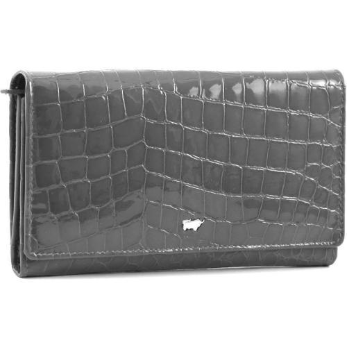 Glanzkroko Geldbörse Leder grau 17 cm von Braun Büffel