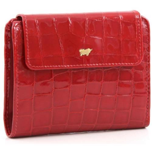 Glanzkroko Geldbörse Leder rot 12,5 cm von Braun Büffel