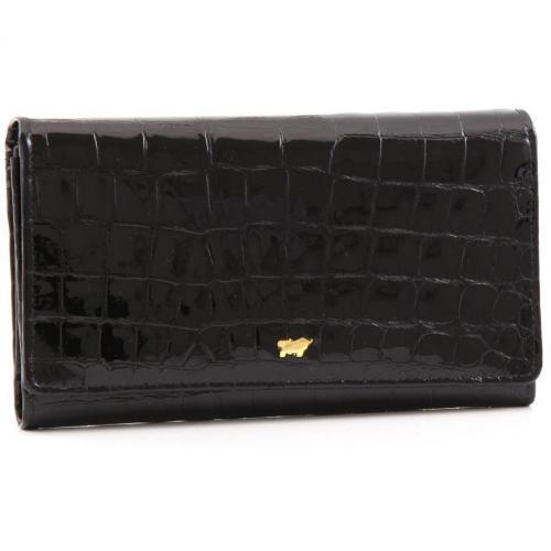 Glanzkroko Geldbörse Leder schwarz 17 cm von Braun Büffel
