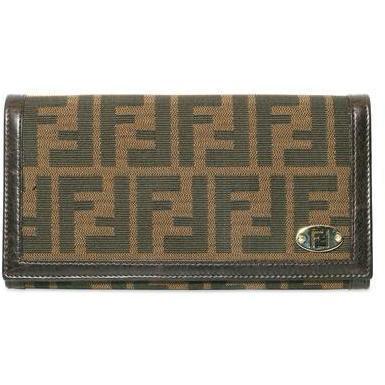 Brieftasche Im Zucca Jacquard braun mit Logo Plate von Fendi