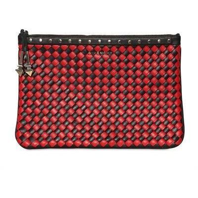 Medium Große Gewebte Leder Clutch mit Nieten von Givenchy