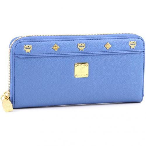 First Lady Geldbörse Damen Leder hellblau 19 cm von MCM