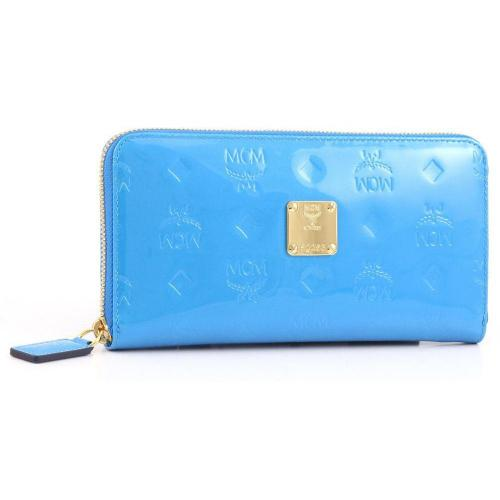 Ivana Patent Geldbörse Damen Leder hellblau 19,5 cm von MCM