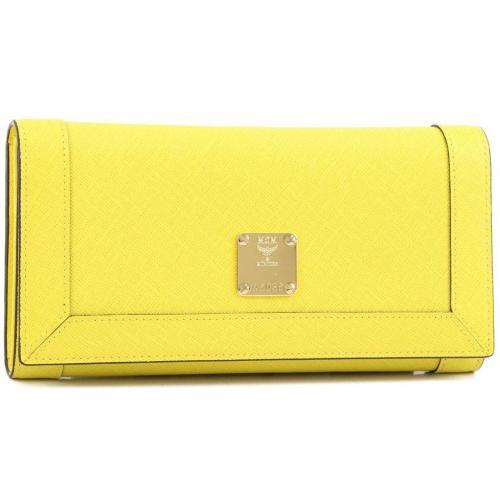 Nuovo L Geldbörse Damen Leder gelb 20 cm von MCM