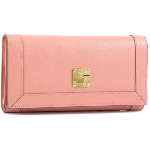 Nuovo L Geldbörse Damen Leder rosa 20 cm von MCM