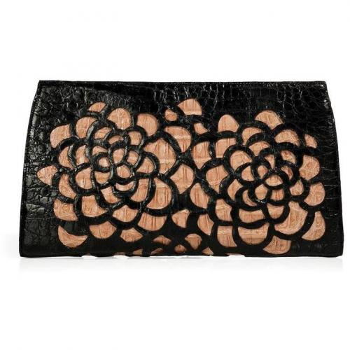 Black/Nude Floral Cutout Crocodile Clutch von Nancy Gonzalez