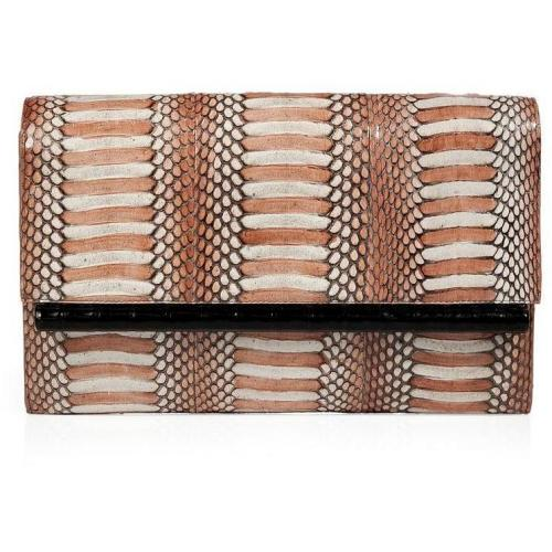 Blush/Nude/Black Fold-Over Crocodile Clutch von Nancy Gonzalez