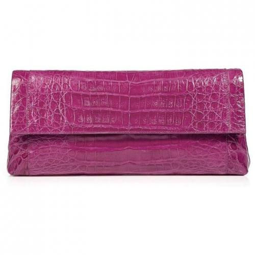 Bright Dahlia Crocodile Fold-Over Clutch von Nancy Gonzalez