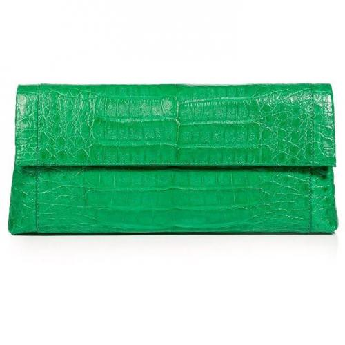 Bright Green Crocodile Fold-Over Clutch von Nancy Gonzalez