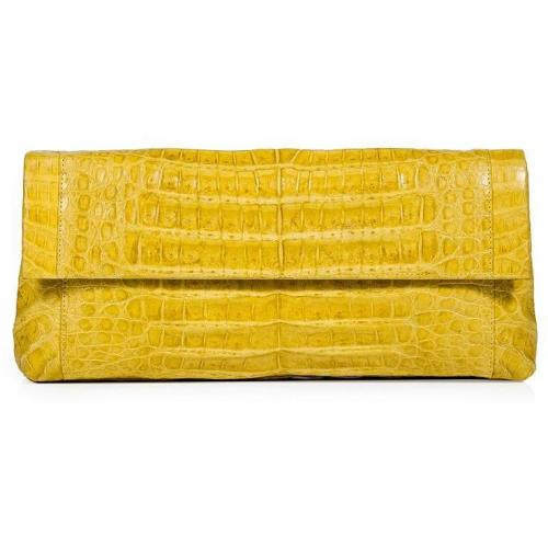 Bright Yellow Crocodile Fold-Over Clutch von Nancy Gonzalez