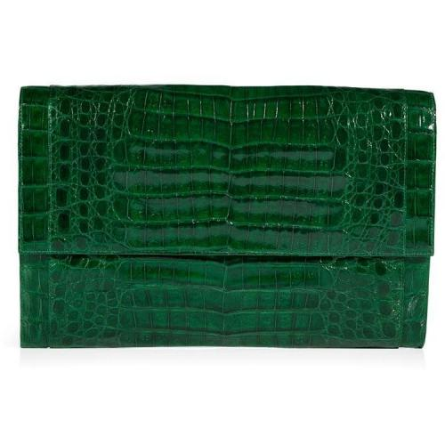 Kelly Green Crocodile Clutch von Nancy Gonzalez