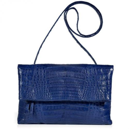 Royal Blue Fold-Over Crocodile Clutch von Nancy Gonzalez