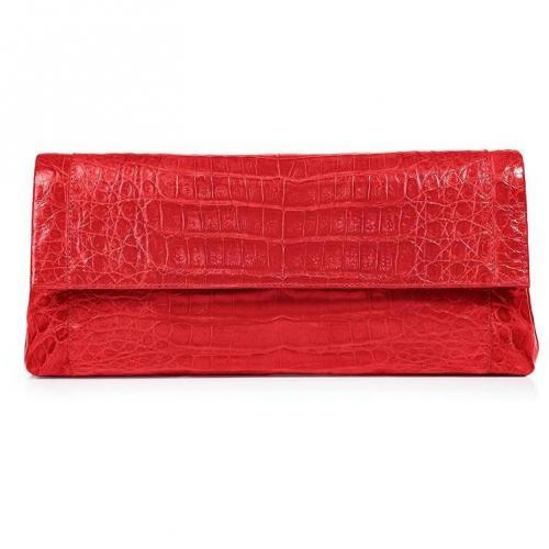 Shiny Fire Red Crocodile Fold-Over Clutch von Nancy Gonzalez