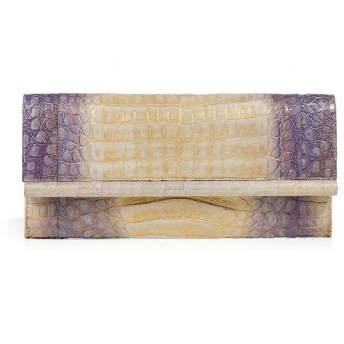 Violet/Gold Crocodile Fold-Over Clutch von Nancy Gonzalez