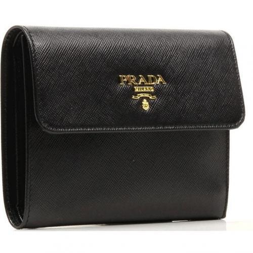 Saffiano Geldbörse Leder schwarz 13 cm von Prada