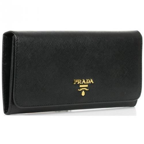 Saffiano Geldbörse Leder schwarz 18,5 cm von Prada