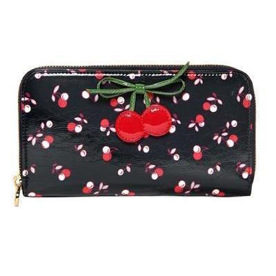 red valentino brieftasche aus leder mit kirschendruck la. Black Bedroom Furniture Sets. Home Design Ideas