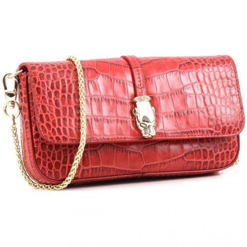 Class Perla Clutch Leder rot 20,5 cm von Roberto Cavalli