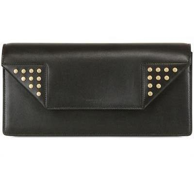 Betty Clutch aus Poliertem Leder mit Goldnieten von Saint Laurent