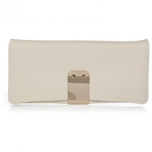 Ivory Leather Clutch von Valentino