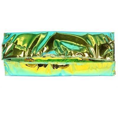 Hologramm Laminierte Baumwollclutch green von Zilla